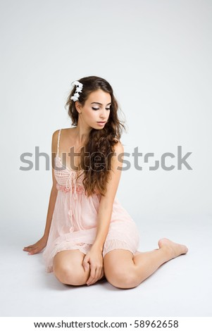 young girl dancing ballet sad pose - stock photo