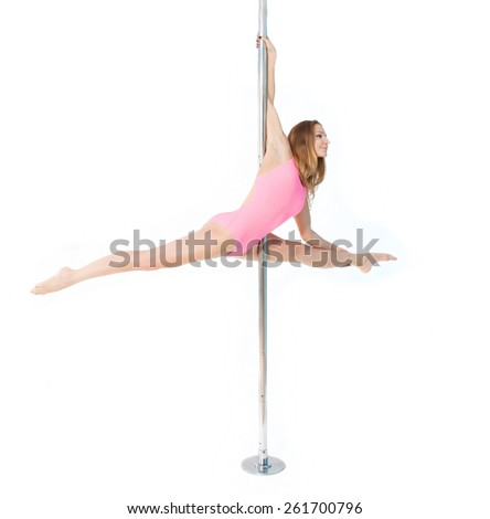 young girl dancing on the pole aerial sexy dance - stock photo
