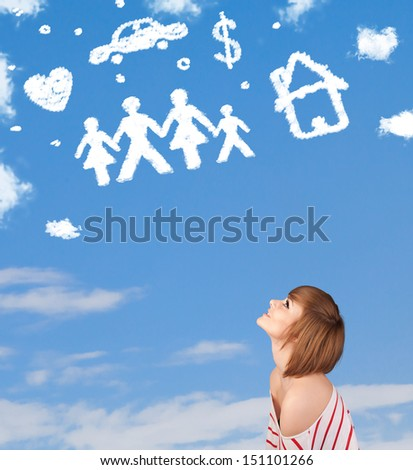 Young girl daydreaming with family and household clouds on blue sky - stock photo
