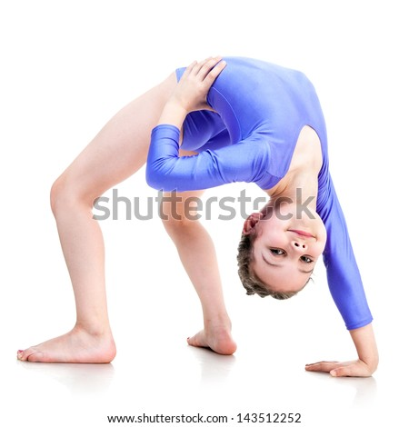 young girl doing gymnastics isolated over white - stock photo