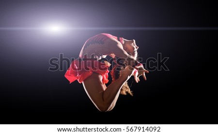 young female gymnast doing split stock images royalty