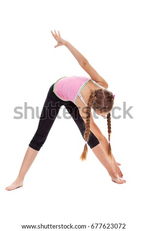 Young girl doing stretching and flexibility gymnastic exercise - isolated