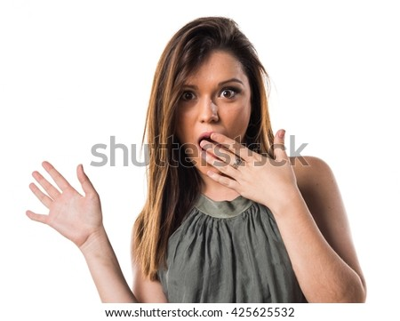 Young girl doing surprise gesture