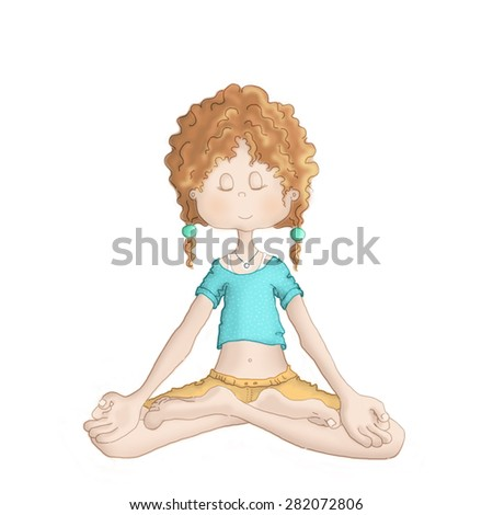 Young girl doing yoga - Padmasana (lotus pose) - stock photo