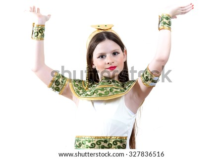 Young girl dressed in egyptian Cleopatra on white - stock photo