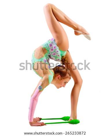 Young girl engaged art gymnastic isolated - stock photo