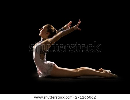 Young girl engaged art gymnastic isolated - stock photo