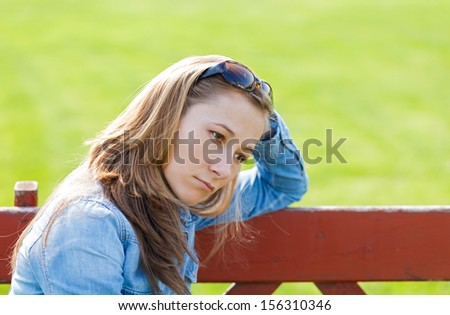 Young girl feeling unhappy because the loss - stock photo