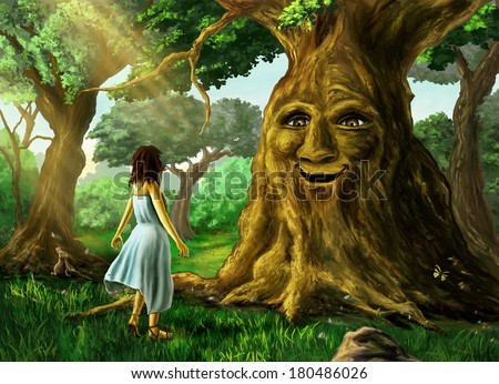 Young girl finds a talking tree in the forest. Digital painting. - stock photo