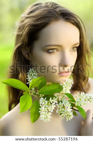 young girl flower sensuality portrait outdoor - stock photo