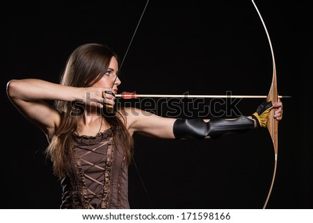 Young girl has some dangerous hobby - stock photo