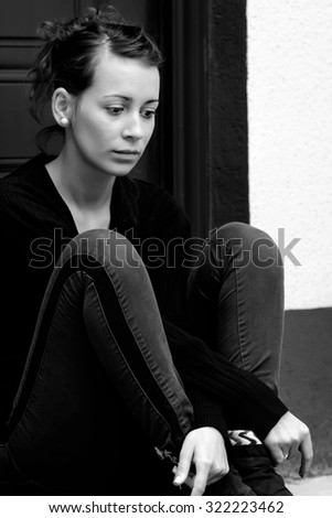 Young girl having lots of problems to think about. - stock photo