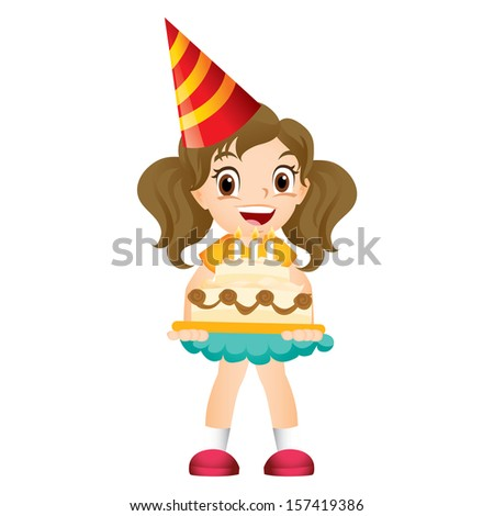 Young girl holding a birthday cake - stock photo