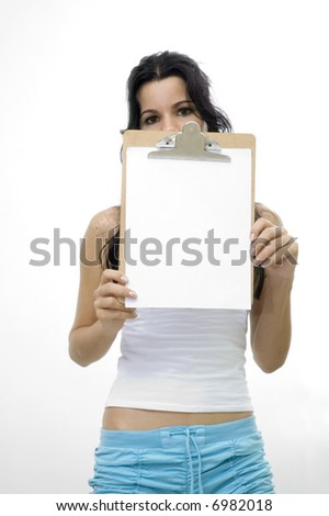 Young girl holding a blank paper - isolated over white