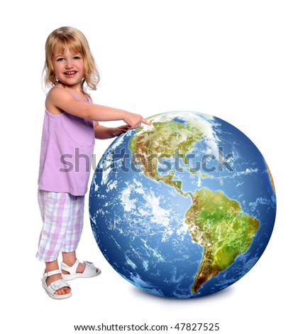 Young girl holding and pointing at earth isolated over white background - stock photo