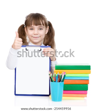 young girl holding clipboard with an empty document and showing thumb up - stock photo