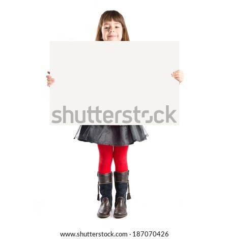 Young girl holding placard  - stock photo