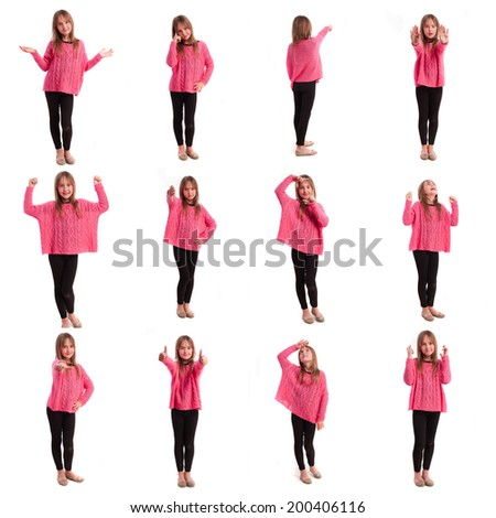 Young girl images set - stock photo