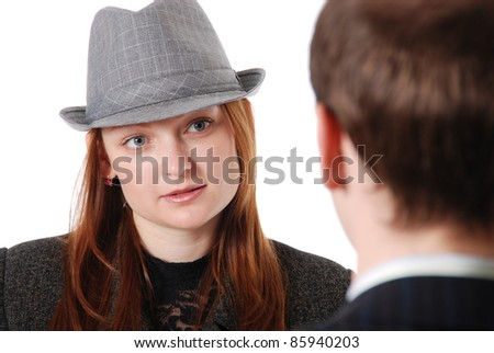 Young girl in a hat on consultation,isolated on white background