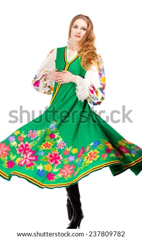 Young girl in a traditional Russian dress - stock photo
