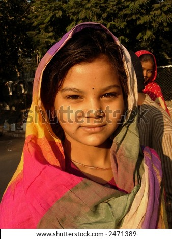 young girl in a village in india - stock photo