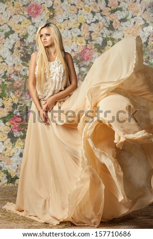 young girl in an expanding dress. - stock photo