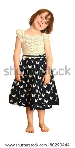 Young girl in butterfly dress, isolated against white background - stock photo