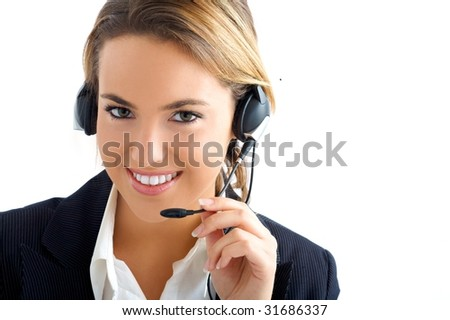 young girl in call center service - stock photo