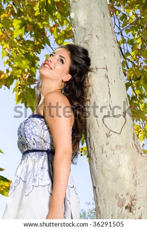 young girl in love at the park - stock photo