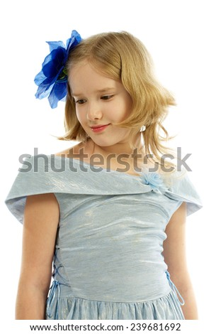 Young Girl in Princess Dress Blue Bow in her Hair isolated on white background - stock photo