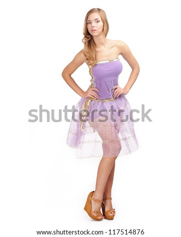 Young girl in purple dress