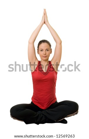Young girl in red shirt exercising - isolated with white background - stock photo