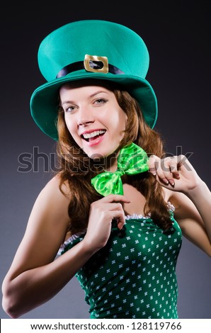 Young girl in saint patrick celebration concept - stock photo