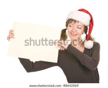 young girl in Santa hat gesturing