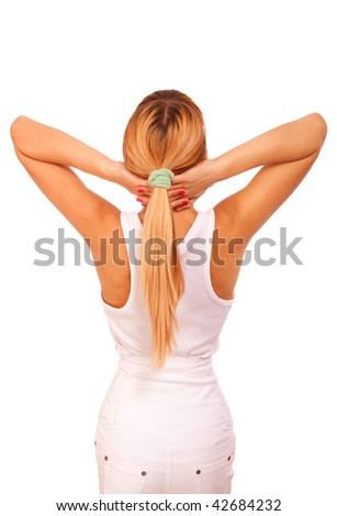 Young girl in white clothes from has returned back and has put head on hands. - stock photo