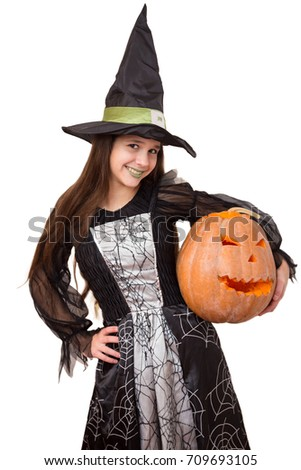 Young girl in witch costume with big pumpkin in hand isolated on white  sc 1 st  Shutterstock & Young Girl Witch Costume Big Pumpkin Stock Photo u0026 Image (Royalty ...