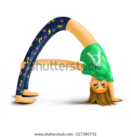 young girl in yoga pose. Yoga ABC. Digital painting - stock photo
