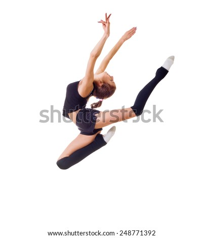 Young girl is engaged in art gymnastics isolated - stock photo
