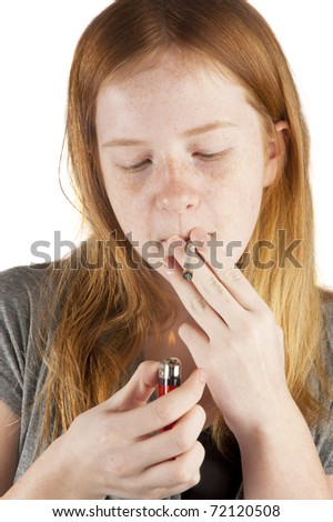 young girl is smoking pot isolated on white - stock photo