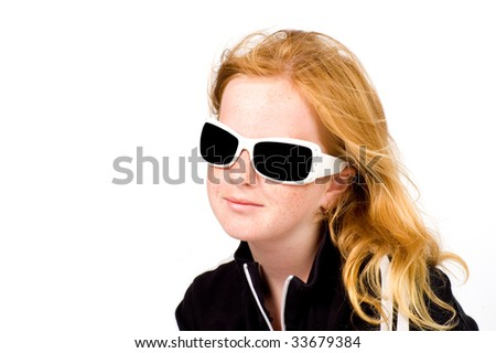 young girl is wearing  white sunglasses isolated - stock photo