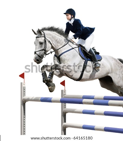 Young girl jumping with grey horse - isolated on white - stock photo