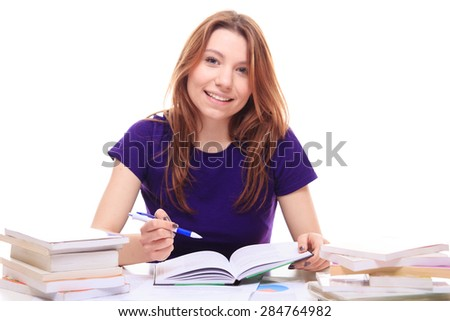 Young girl learning at the desk