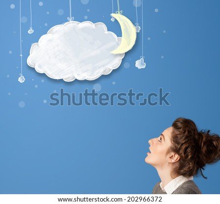 Young girl looking at cartoon night clouds with moon hanging down