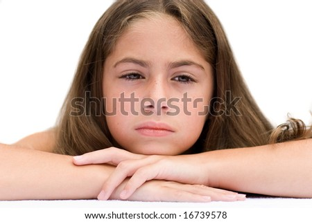 Young Girl Looking Tired - stock photo