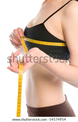 Young girl making measure of her body - stock photo