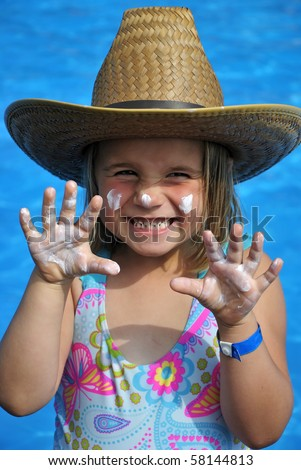 Young girl making wild tiger - stock photo