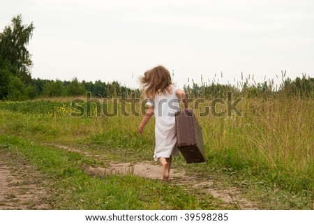 Young girl on rural  road