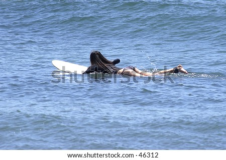 young girl on surfboard surfer girl