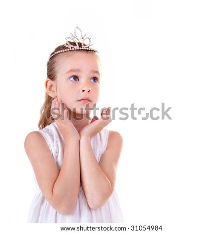 Young girl on white backgroun - stock photo
