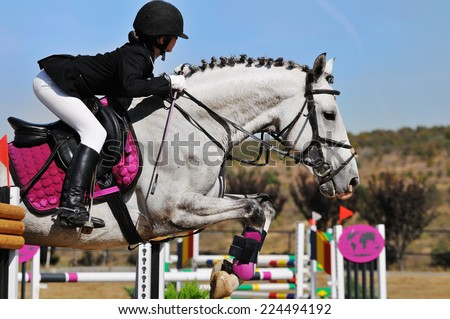Young girl on white horse in jumping show - stock photo